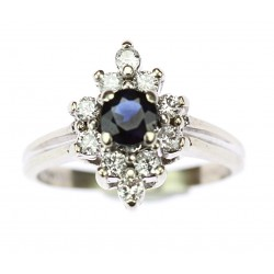 Ring with blue sapphire and...