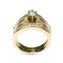 Zlatý dvouprsten s diamanty