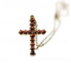 Garnet cross on silver chain