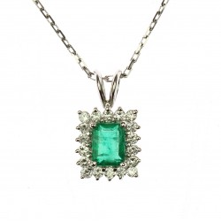 Necklace with emerald and...