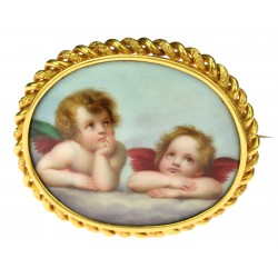 Gold brooch with painting