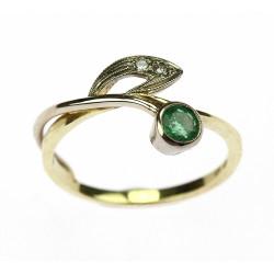 Secesní prsten se smaragdem...