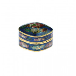 Brass pill box with enamels