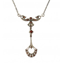 Silver necklace with garnets