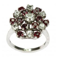 Zlatý prsten s křišťálem a spinelem