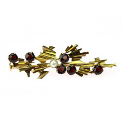 Gold brooch with czech...