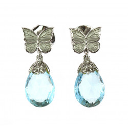 Earrings with aquamarines -...