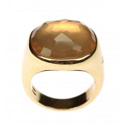 Gold ring with rose quartz...