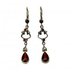 Silver earrings with Czech...