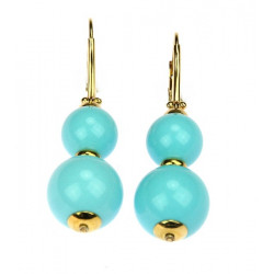 Gold earrings with turquoise