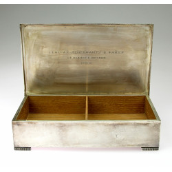 Silver box with dedication...