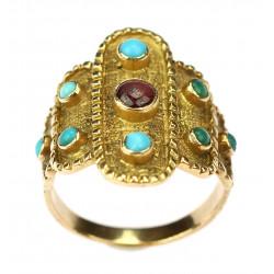 Zlatý prsten s tyrkysy a...