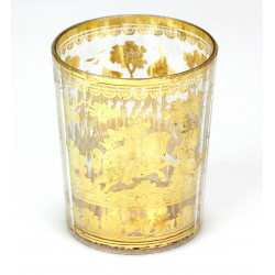 Double walled glass with a gold foil