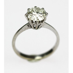 Gold round cut diamond solitaire ring- 2,06 ct