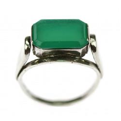 Stříbrný prsten chrysoprazem