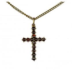 Granátový křížek s řetízkem