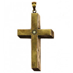 Gold cross with pearl