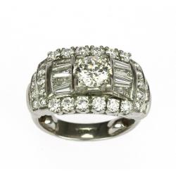 Art deco platinový prsten s...