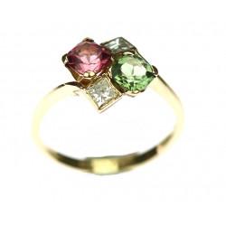 Zlatý prsten s turmalíny a...