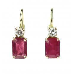 Rubínové náušnice s diamanty