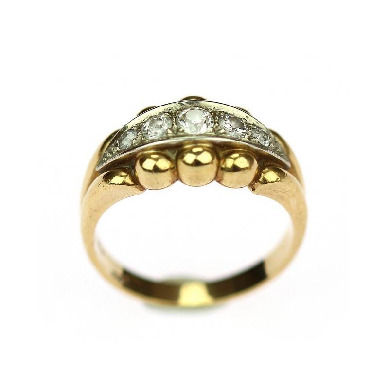 Prvorepublikový prsten ve žlutém 14karátovém zlatě s brilianty o váze 0 6c15c95db31
