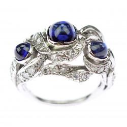 Platinový prsten se safíry...