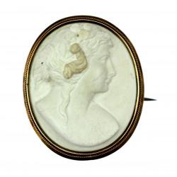 Limestone cameo brooch