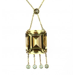 Gold necklace with citrine