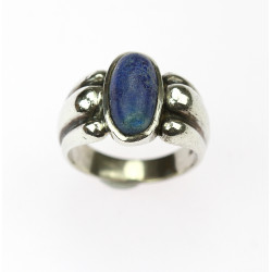 Silver ring with lapis