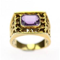 Mens gold amethyst ring