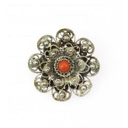 Silver brooch with sea coral