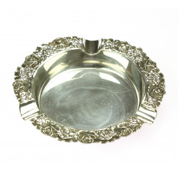 Silver ashtray with flowers