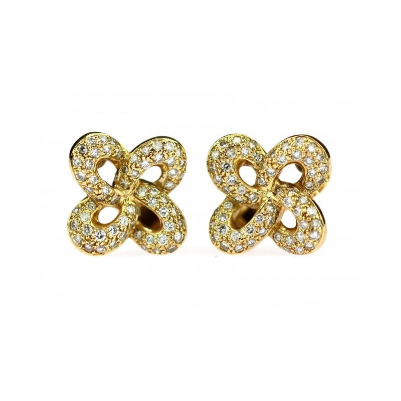 Efektní náušnice z 18ti karátového žlutého zlata z poloviny minulého  století. Mají tvar čtyřlístku a jsou zdobeny brilianty. Tento šperk je  určen pro ženy 32e4b17fbcf