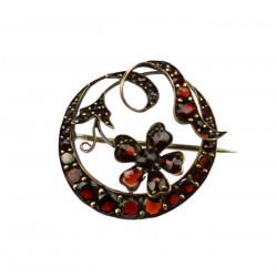 Art Nouveau garnet brooch