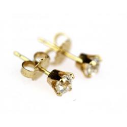 1280001ee Náušnice zhotovené ze žlutého 14karátového zlata a solitérních diamantů  briliantového brusu každý o váze 0,30 ct, barvě J a čistotě Si a VS.