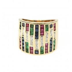 Gold ring with gems