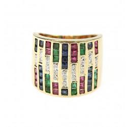 Zlatý prsten s drahokamy