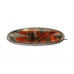 Silver agate brooch