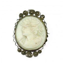 Silver cameo brooch,...