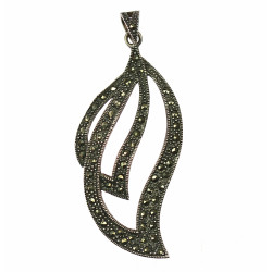 Silver pendant with marcasites