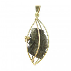Gold pendant with moldavite
