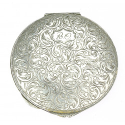 Art-deco silver powder box