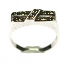 Silver ring with marcasite