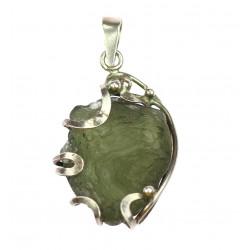 Silver pendant with moldavite