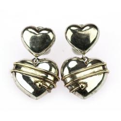 Stříbrné náušnice srdce -...
