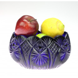 Cobalt glass fruit bowl