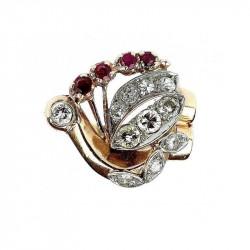 Zlatý prsten s rubíny a brilianty