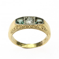 Gold ring with diamond and...