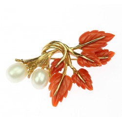 Brooch with sea coral and...