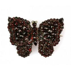 Czech garnet butterfly brooch